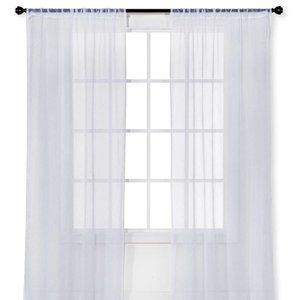 White Sheer Curtain 40x63 One Panel